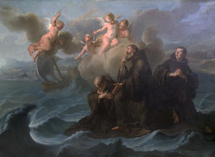 Noël-Nicolas Coypel - Saint François de Paule et ses compagnons traversant le détroit de Messine sur son manteau (1723)