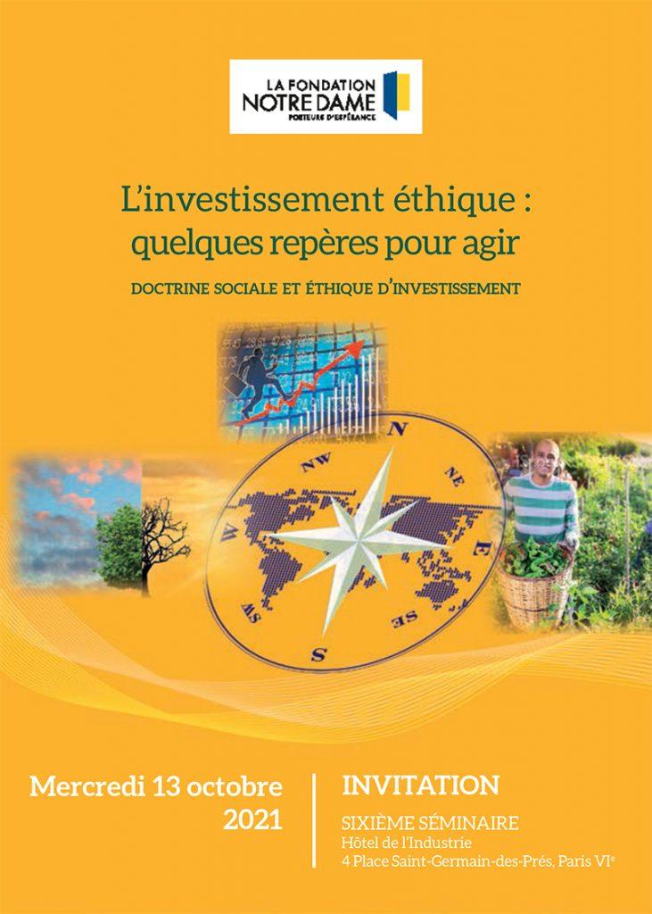 Séminaire Investissement éthique 2021